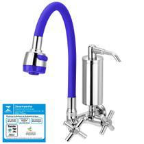 Torneira Gourmet Filtro Metal Slim Azul Flexível Parede 1/4 Volta - Tfc