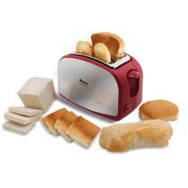 Torradeira French Toast Inox Philco com 8 Opções de Tostagem - Aço Escovado/Vermelha 127V -