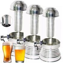 Torre Cervejeira de Vidro Com Dispenser de Gelo 3 L - Prata - Retrofenna