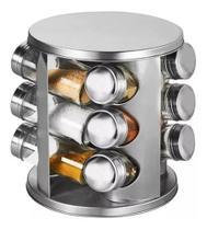 Torre inox porta tempero com 12 potes de vidro - Casa & Novidade