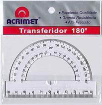 Transferidor em poliestireno 180º cristal ref 551. Acrimet -