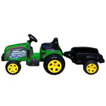 Trator eletrico radical meninos country verde 6v com caçamba e buzina - Biemme