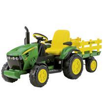Trator Infantil Elétrico Criança Carrinho Com Carretinha 3 Anos até 40 Kg John Deere Ground Force 12 V Peg Perego -