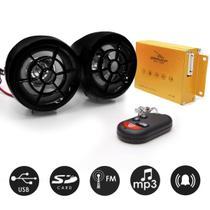 Trava alarme anti furto para moto com caixa de som e controle remoto mp3 radio fm usb sd cadeado ant - Knup