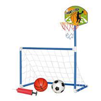 Trave 2 Em 1 Futebol E Basquete Infantil 2 Bolas + Bomba Ar DMT5936 - Dm Toys