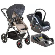 Travel System Galaxy com Base - Preto e Capuccino - Kiddo