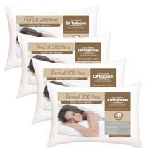 Travesseiro 100% Algodão 200 Fios Ortobom - Kit 4 Unidades - Barros Baby -
