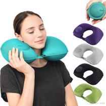 Travesseiro Almofada De Pescoço Inflável e Dobrável Para Viagem - Aiker