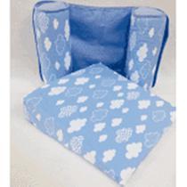 Travesseiro Anti-refluxo De Carrinho+rolinho Segura Bebe Nuvens - Nara Baby