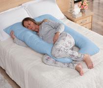 Travesseiro de Corpo Gestante Grávida Almofada + Capa Fronha Retirável Confortável Azul - L2M