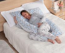 Travesseiro de Corpo Gestante Grávida Almofada + Capa Fronha Retirável Confortável Nuvem Azul - L2M