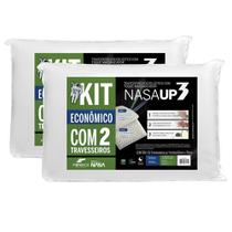 Travesseiro  Nasa UP3  Visco Fibrasca 50 x 70 cm - Branco - Kit C/ 2 Travesseiros