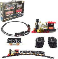 Trem / ferrorama express classico 20 pecas com som e luz a pilha na caixa wellkids - Wellmix