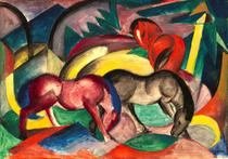 Três Cavalos - Franz Marc - 50x72 - Tela Canvas Para Quadro - Santhatela
