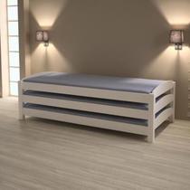 Tricama solteiro empilhável ou casal madeira maciça - laqueado branco - casatema -