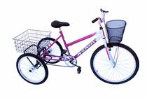 Triciclo adulto wendy c/guidão poty pink -