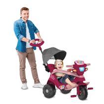 Triciclo De Passeio e Pedal - Reclinável - Velobaby - Pink Com Campota - Bandeirante -