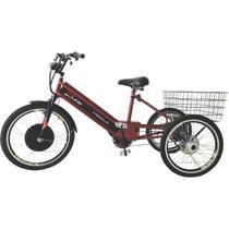 Triciclo Elétrico 800W com Pedal e Freio a Disco Vermelho Cereja - Duos