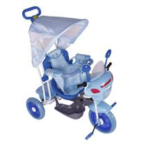Triciclo Infantil 2 em 1 C/Toldo Luzes Música Azul - Bel Brink -