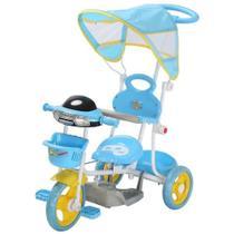 Triciclo Infantil 2 em 1 com Haste e Pedal Azul BW003AZ Importway -