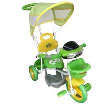 Triciclo Infantil 2X1 Verde Haste Para Empurrar E Pedal Toca Musica Acende Farol Certificado Inmetro - Iw