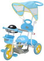 Triciclo Infantil Azul com Som e Capota Empurrador Importway -