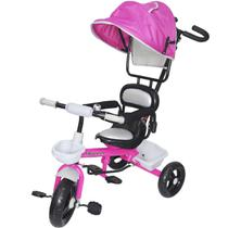 Triciclo Infantil com Capota Haste Empurrador Pedal Motoca Velotrol 2 em 1 Brinqway BW-084RS Rosa -