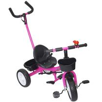 Triciclo Infantil com Haste Empurrador Pedal Motoca Velotrol 2 em 1 Brinqway BW-082RS Rosa -