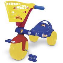 Triciclo Infantil Com Pedal Cestinha Zoo Azul 7487 Xalingo -