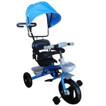 Triciclo Infantil de Ferro Com Capota Solar 2 Anos Até 25 Kg Barra Guia Sininho Brinqway Azul - Importway