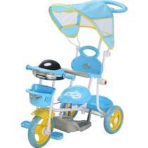 Triciclo Infantil Empurrador Passeio Motoca Cobertura Azul - Importway