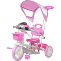 Triciclo Infantil Empurrador Passeio Motoca Cobertura Rosa - Importway