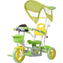 Triciclo Infantil Empurrador Passeio Motoca Cobertura Verde - IMPORTWAY