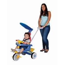 Triciclo Infantil Fit Trike Azul Com Empurrador Magic Toys