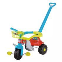 Triciclo Infantil Motoca Tico Tico Festa Azul Com Aro Protetor, Haste E Cestinha - Magictoys - Magic Toys