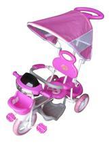 Triciclo Infantil Passeio Com Empurrador 2 Em 1 Motoca - Rosa - BW003R - IMPORTWAY
