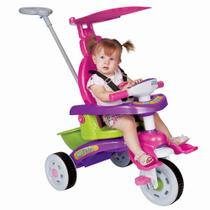 Triciclo infantil rosa com empurrador fit trike magic toys