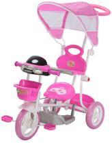 Triciclo Infantil Rosa com Som e Capota Empurrador Importway -