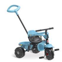 Triciclo infantil smart plus azul 2 em 1 haste empurrador e pedal - Bandeirante