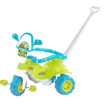 Triciclo Infantil Tico Tico Motoca Dino Verde com Haste Removível Acessórios e Adesivo - Magic toys -