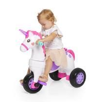 Triciclo infantil unicórnio c/ empurrador e protetor 1-3 anos fantasy calesita -