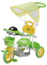 Triciclo Infantil Verde com Som e Capota Empurrador Importway -