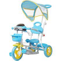 Triciclo Motoca Bicicleta 3 Rodas Infantil Passeio com Empurrador Pedal Luz Som Capota Azul - Importway