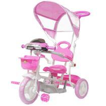 Triciclo Motoca Bicicleta 3 Rodas Infantil Passeio com Empurrador Pedal Luz Som Capota Rosa - Importway