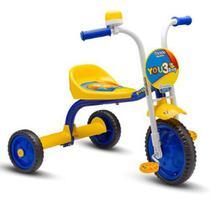 Triciclo Motoca Bicicleta Infantil Masculina Azul Amarelo - Nathor