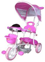 Triciclo Motoca de Passeio Infantil com Empurrador e Capota Rosa - IMPORTWAY