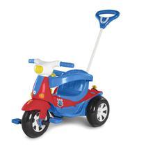 Triciclo Motoca Elétrica Infantil Calesita Velotri Azul Vermelho Com Pedal -