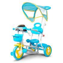 Triciclo Motoca Infantil Azul 2 em 1 com Haste Empurrar e Pedal Passeio Cobertura Música e Farol - IW