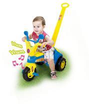 Triciclo motoca infantil c/som e haste empurrador velotrol baby music cotiplás presente -