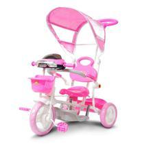 Triciclo Motoca Infantil Rosa 2 em 1 com Haste Empurrar e Pedal Passeio Cobertura Música e Farol - IW